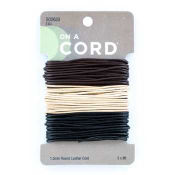 Black, Sand & Brown Round Leather Cord Value Pack